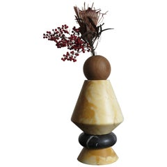 """Marble and Wood Contemporary Sculpture, Candleholders, Flower Vase """"iTotem"""""""