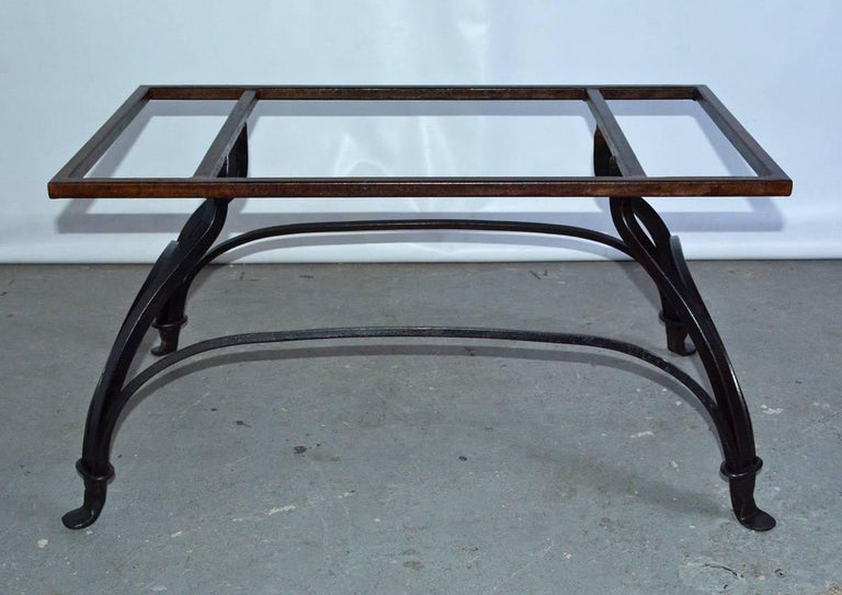 Contemporary Marble and Wrought Iron Coffee Table For Sale