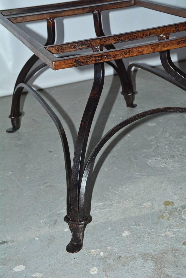 Marble and Wrought Iron Coffee Table For Sale 3