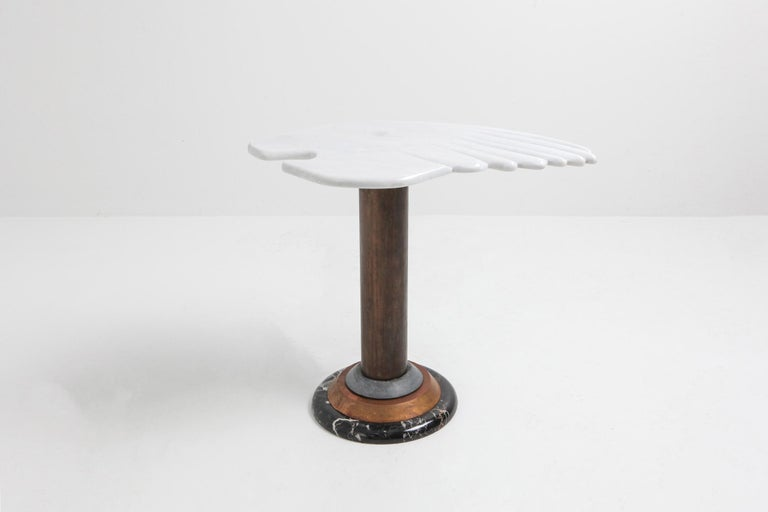 Art Deco Marble Angel Wing Side Table For Sale