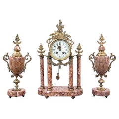 Marble Antique Clock with Two Amphoras, France, circa 1900
