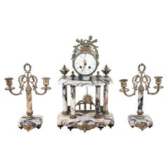Marble Antique Clock with Two Candelabras, France, circa 1900