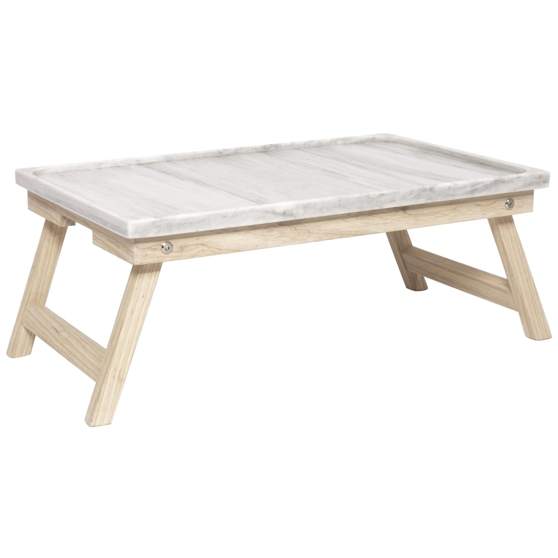 Marble ash wood and marble Bed Tray