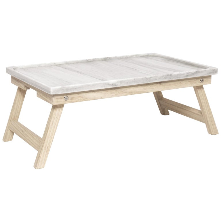 Marble ash wood and marble Bed Tray For Sale