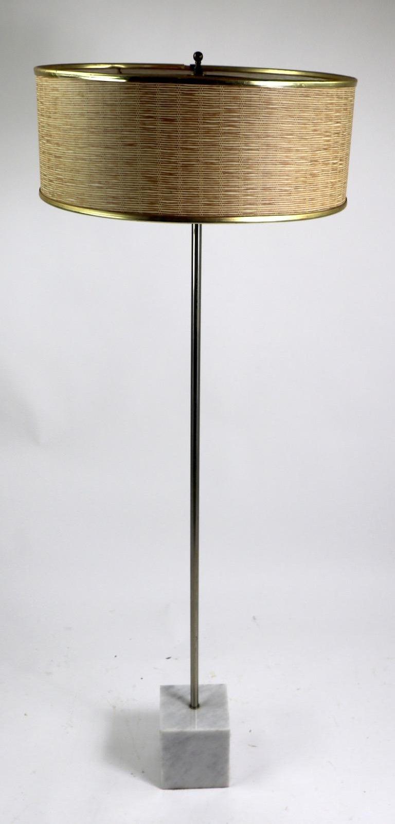 Mid-Century Modern Marble Base Floor Lamp by Laurel For Sale