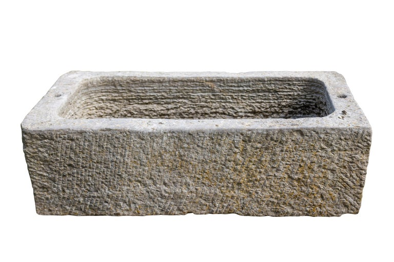 Chinese Marble Bath, 19th Century, Planter 42 Inches Long For Sale