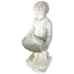 Marble Bird Bath, Classical Style Carved Putto with Clam Shell Dish