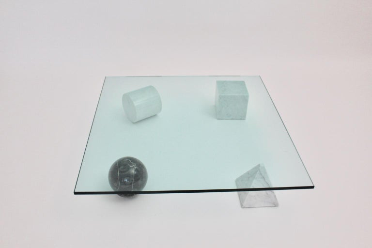Italian Massimo and Lella Vignelli Vintage Black White Marble Coffee Table 1979 Italy For Sale