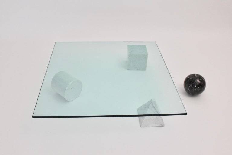 Massimo and Lella Vignelli Vintage Black White Marble Coffee Table 1979 Italy In Good Condition For Sale In Vienna, AT
