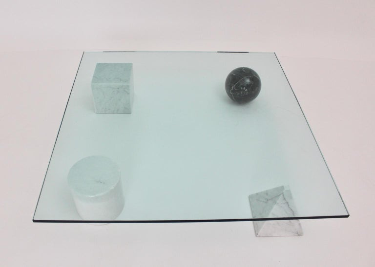 Massimo and Lella Vignelli Vintage Black White Marble Coffee Table 1979 Italy For Sale 1