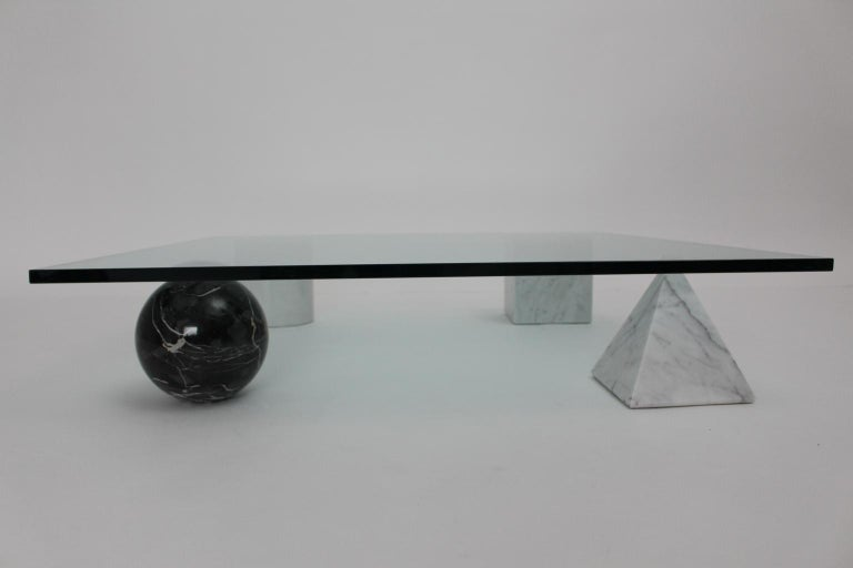 Massimo and Lella Vignelli Vintage Black White Marble Coffee Table 1979 Italy For Sale 2