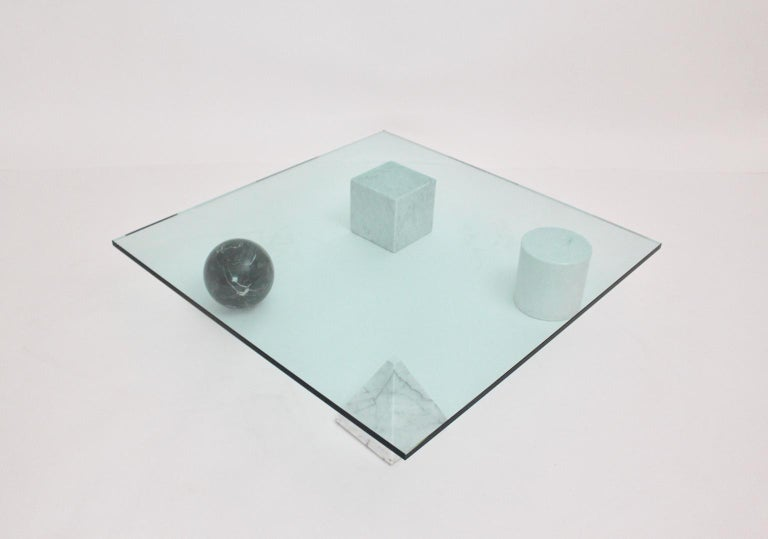 Massimo and Lella Vignelli Vintage Black White Marble Coffee Table 1979 Italy For Sale 3