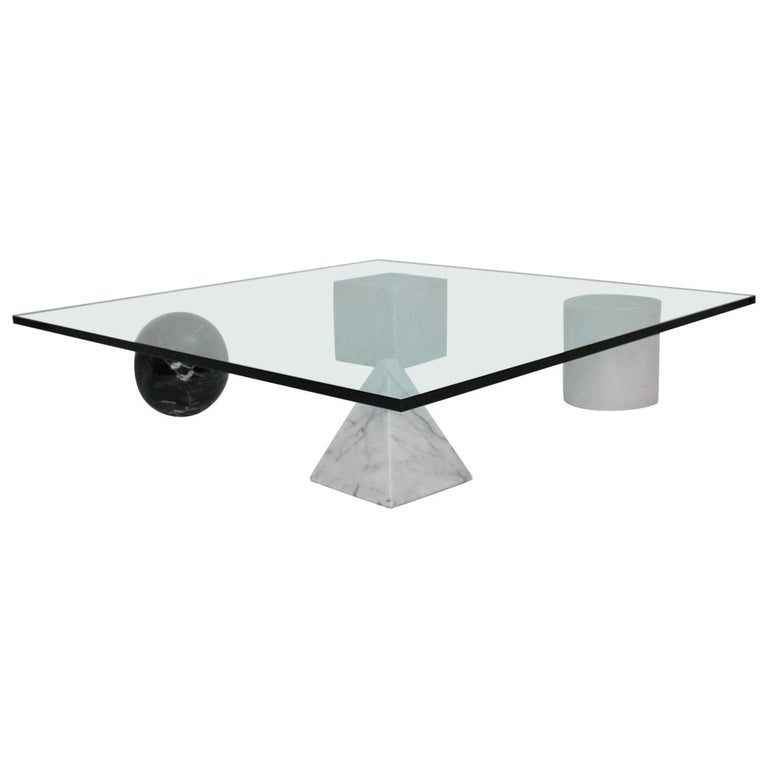 Massimo and Lella Vignelli Vintage Black White Marble Coffee Table 1979 Italy For Sale