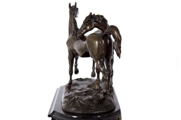 Marble & Black Slate Mantel Clock W/ Equestrian Sculpture Group, circa 1865 For Sale 5