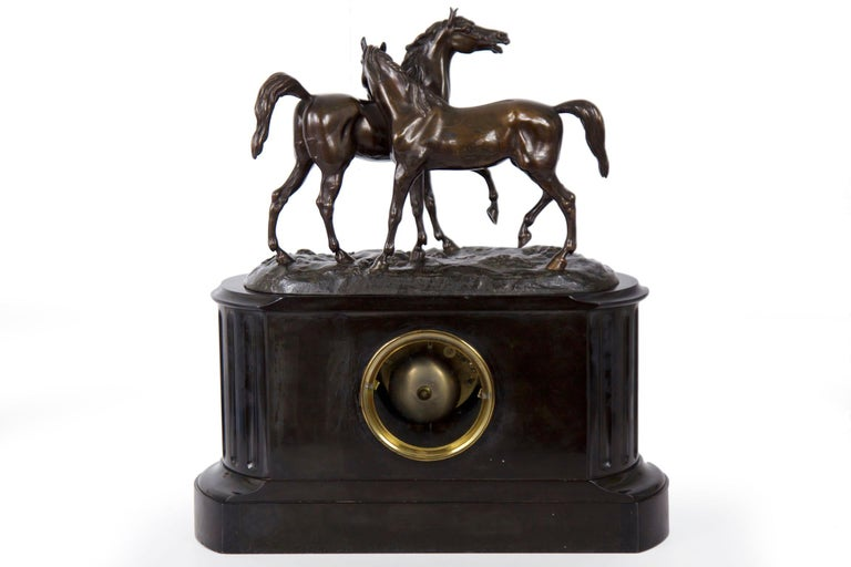 Marble & Black Slate Mantel Clock W/ Equestrian Sculpture Group, circa 1865 For Sale 7