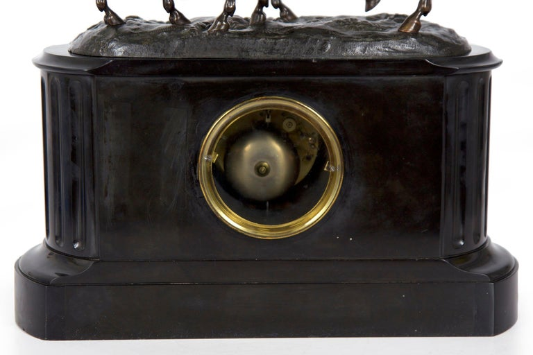 Marble & Black Slate Mantel Clock W/ Equestrian Sculpture Group, circa 1865 For Sale 9