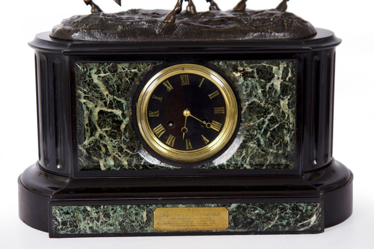 Romantic Marble & Black Slate Mantel Clock W/ Equestrian Sculpture Group, circa 1865 For Sale