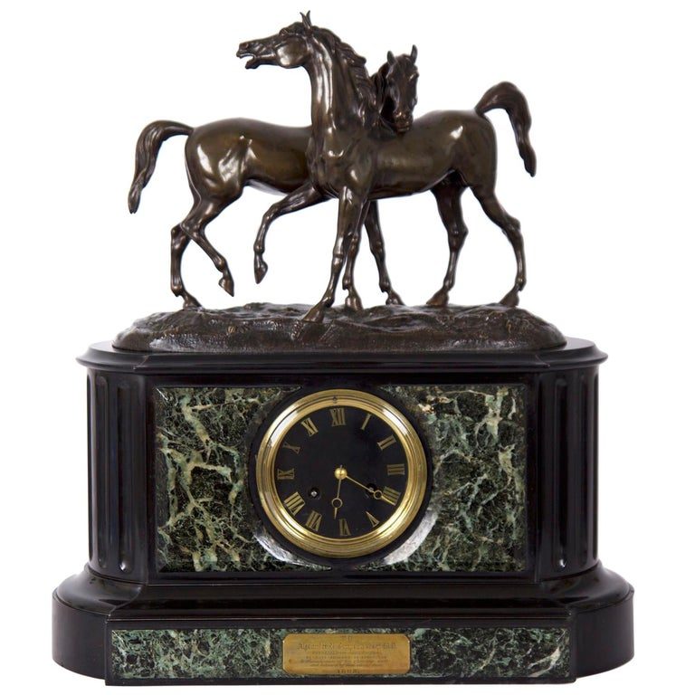 Marble & Black Slate Mantel Clock W/ Equestrian Sculpture Group, circa 1865 For Sale