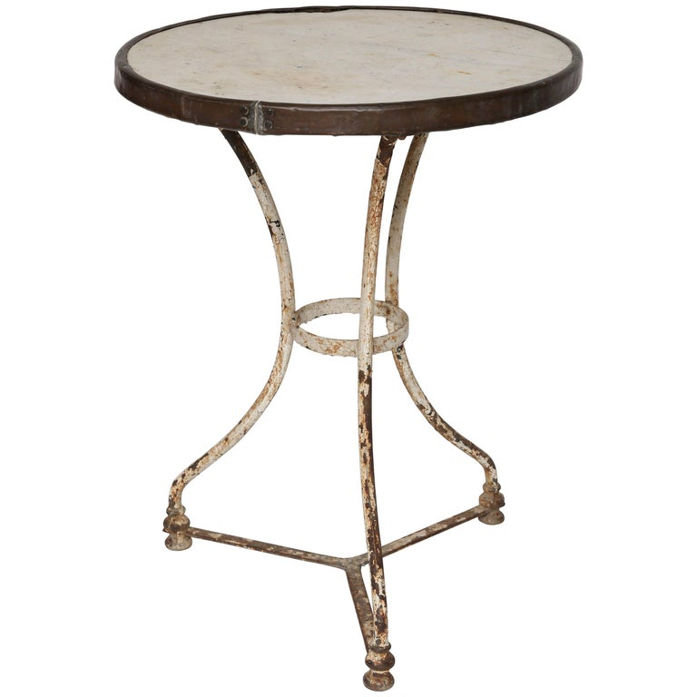 Marble Bistro Accent Table: Marble, Brass And Iron French Bistro Table For Sale At 1stdibs