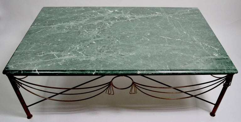 Marble Brass and Steel Coffee Table after Ilana Goor For Sale 6