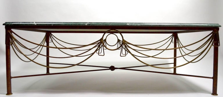 20th Century Marble Brass and Steel Coffee Table after Ilana Goor For Sale