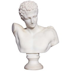 Marble Bust Hermes of Olympia 19th Century Mercury