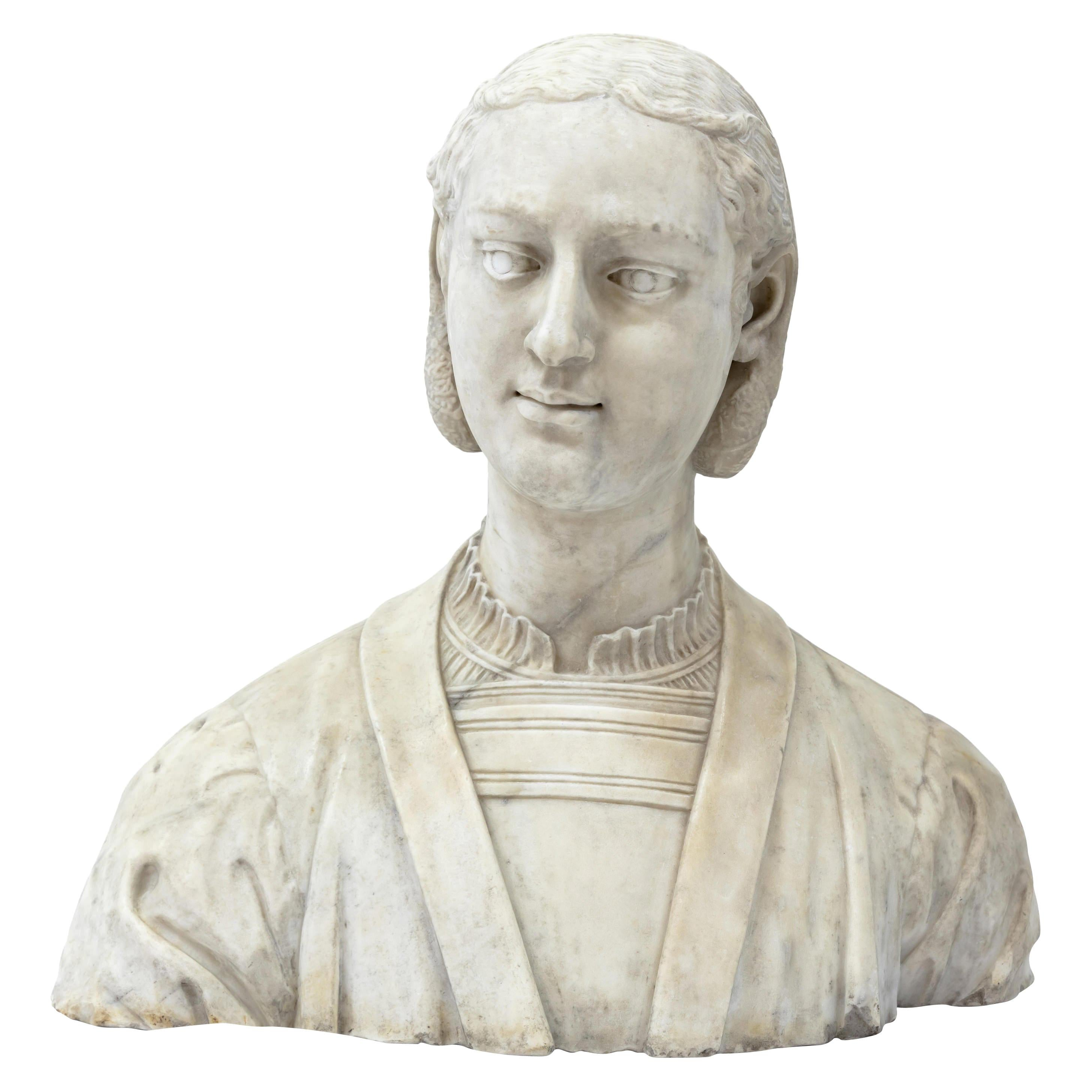 Marble Bust of a Woman in Renaissance Style, Late 19th Century