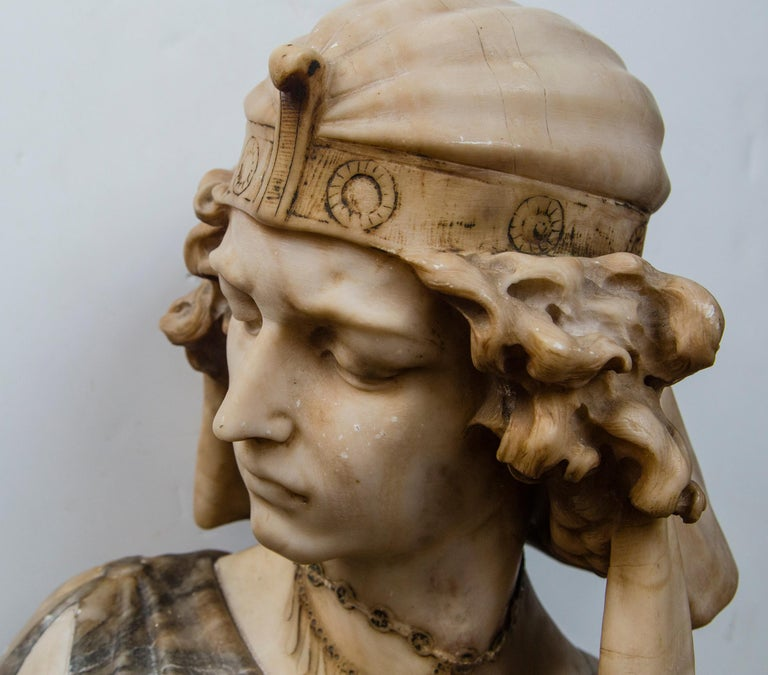 Hand-Carved Marble Bust of an Egyptian Prince For Sale