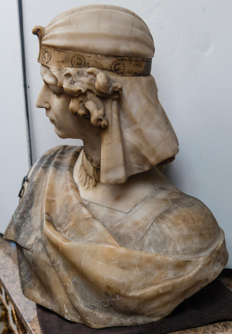 19th Century Marble Bust of an Egyptian Prince For Sale