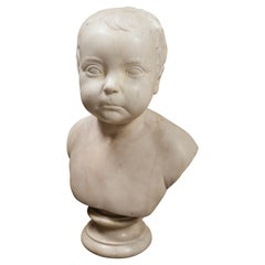 Marble Bust of Child, Signed and Dated