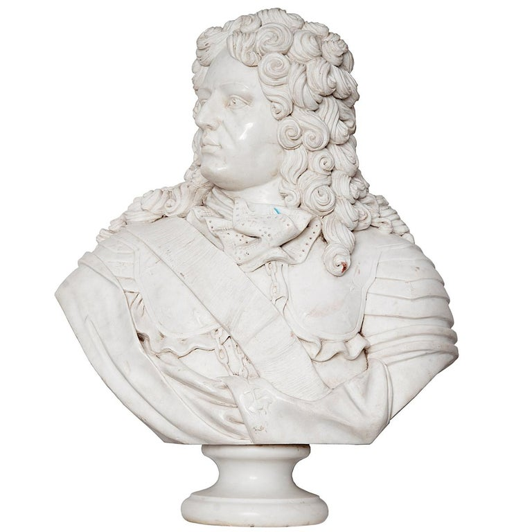 Marble Bust of Louis XIV For Sale