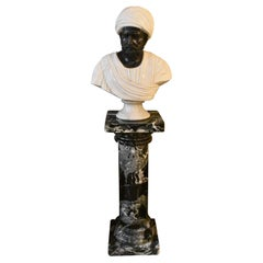Marble Bust & Pedestal Middle Eastern Man in Turban