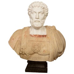 Marble Bust, Roman Emperor, 20th Century