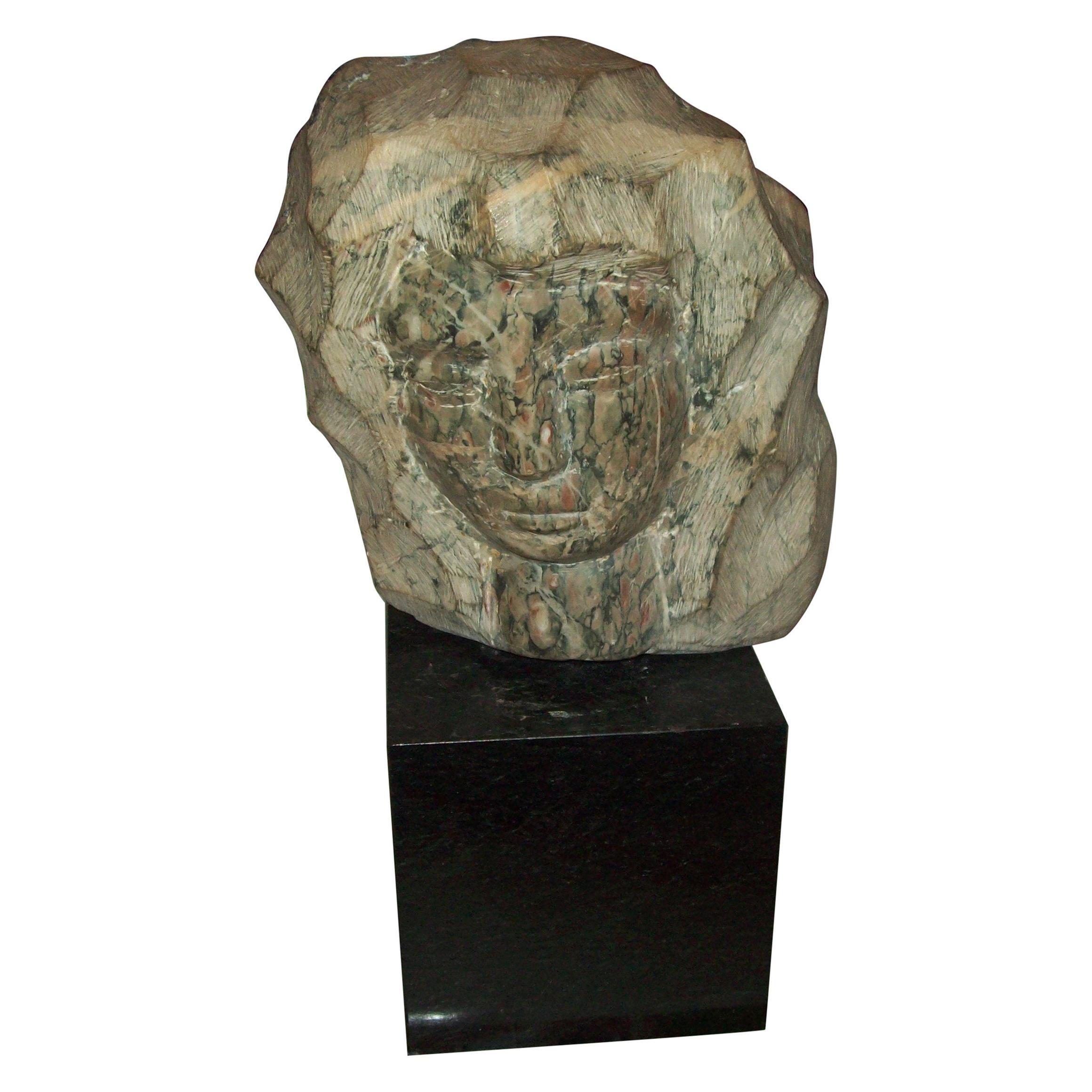 Marble Bust Sculpture on Granite Base Signed Simon