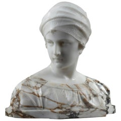 Marble Bust Woman with Turban by Guglielmo Pugi