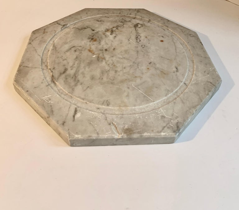 Mid-Century Modern Marble Cheese Server with Bell Jar Dome For Sale