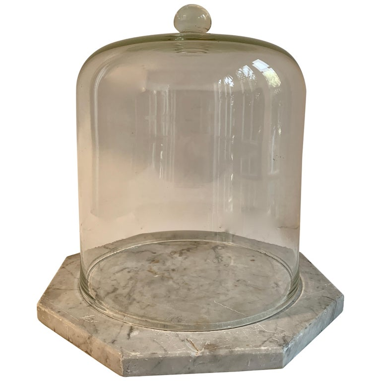 Marble Cheese Server with Bell Jar Dome For Sale