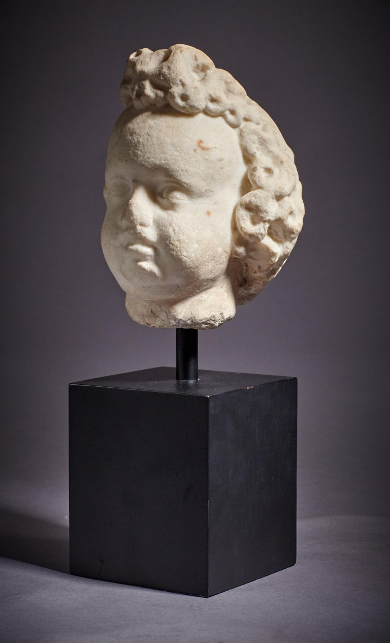Small late 16th-early 17th century marble cherub head, Italian, circa 1600-1620