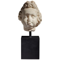 Marble Cherub Head, Late 16th-Early 17th Century, Italian, circa 1600-1620