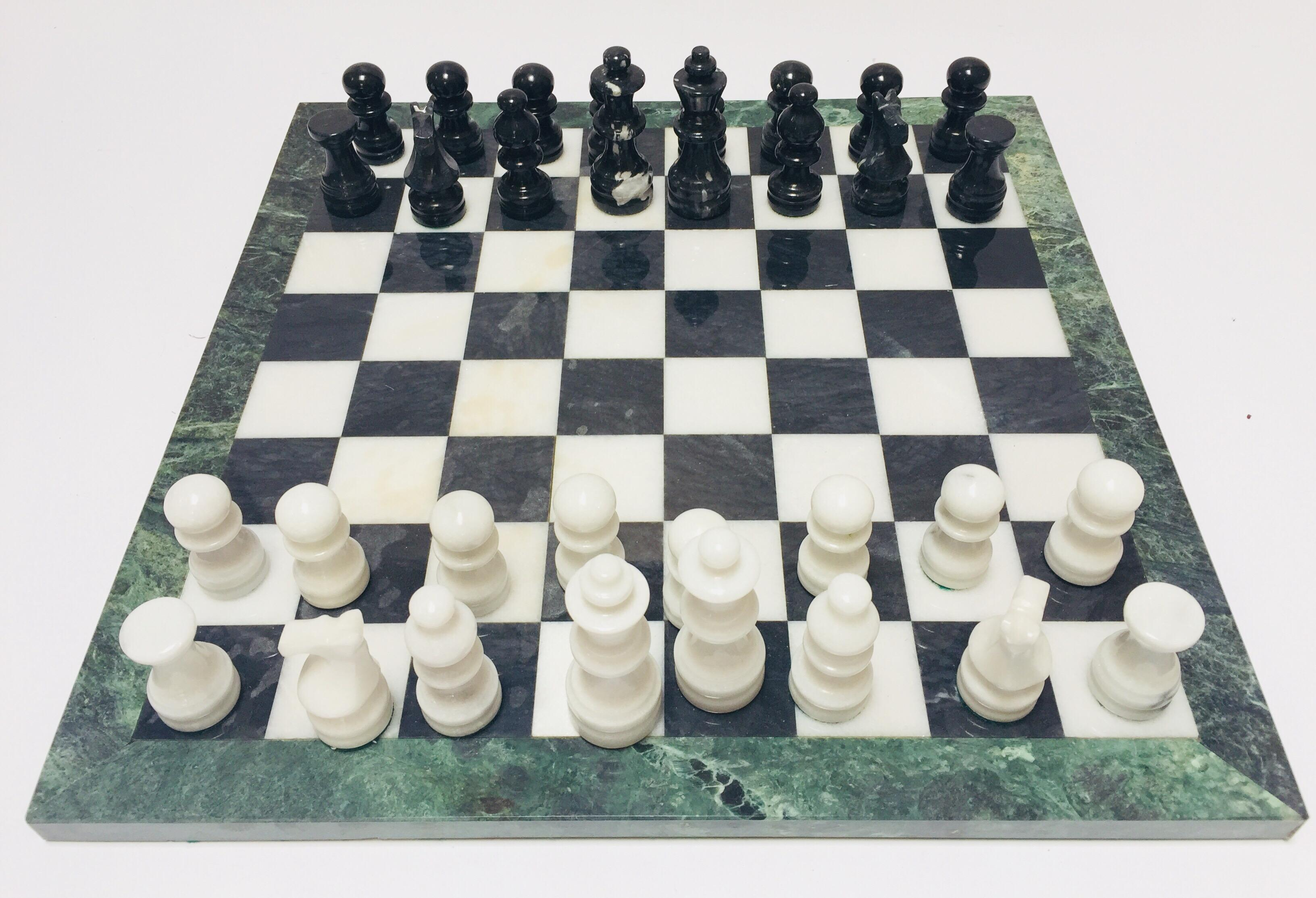 Marble Stone Chess Board and Pieces Set Rajasthan Art Dimension 20 x 20 cm