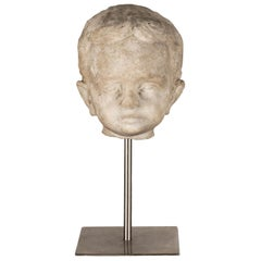 Marble Child's Head Sculpture
