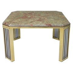 Marble Chrome and Brass Side Table, France, 1970s