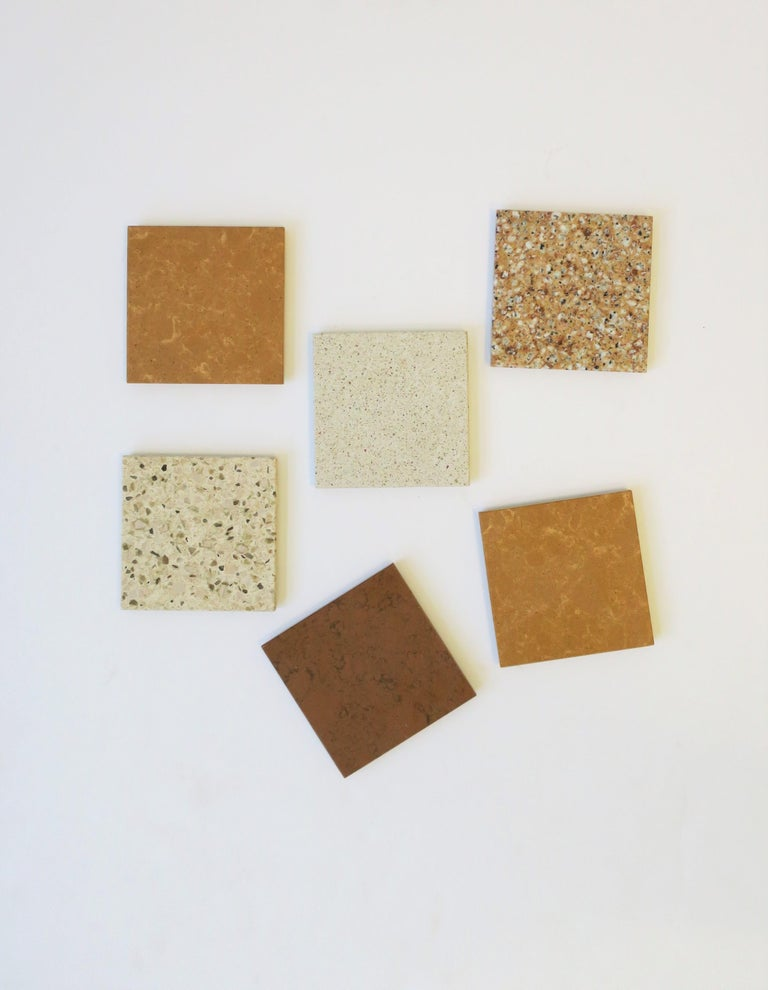 A beautiful set of six (6) modern or Minimalist style stone coasters for drinks, cocktails, champagne, etc. A great addition to any bar or bar cart; a necessity for protecting furniture surface/top. In browns, tan, and neutral hues.