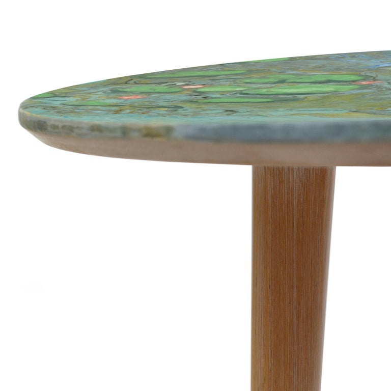 Arts and Crafts Marble Coffee Table Side Table Natural Wood Legs Polychrome Scagliola Art Work For Sale