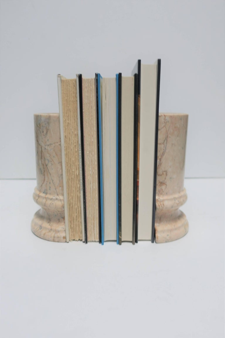 Classical Roman Marble Column Bookends For Sale