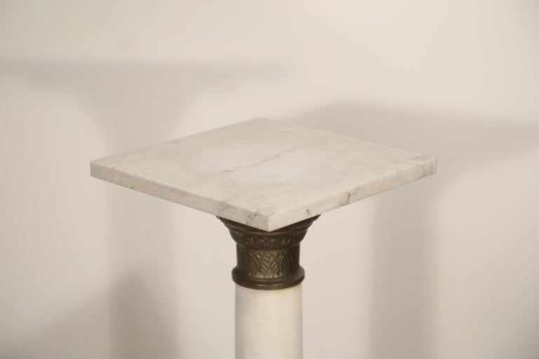 Marble Column Pedestal with Patinated Metal Mounts, circa 1930s For Sale 5