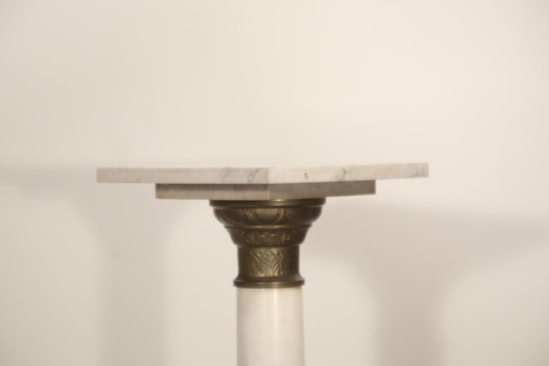 Marble Column Pedestal with Patinated Metal Mounts, circa 1930s For Sale 6