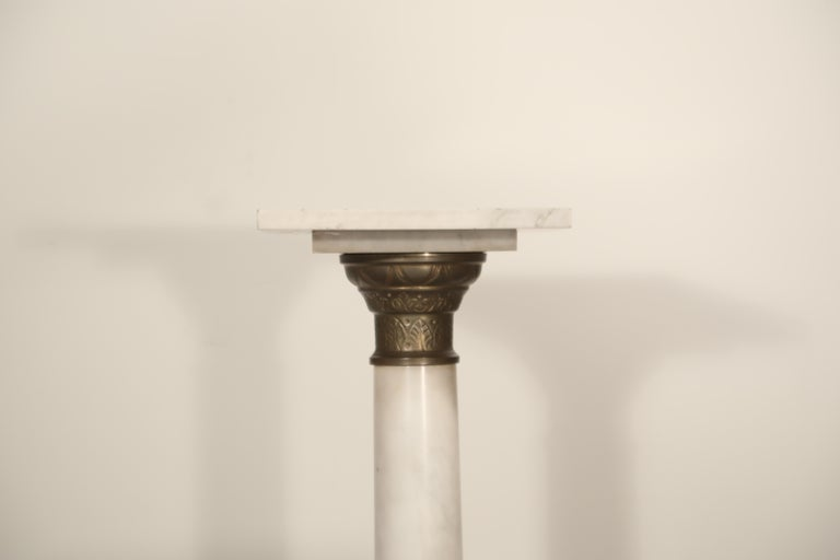 Art Deco Marble Column Pedestal with Patinated Metal Mounts, circa 1930s For Sale