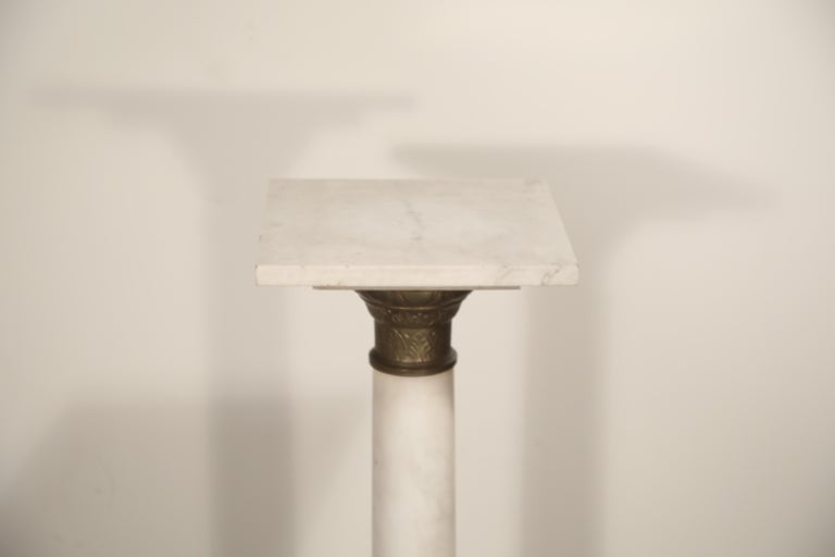Early 20th Century Marble Column Pedestal with Patinated Metal Mounts, circa 1930s For Sale