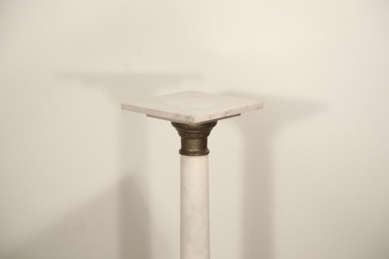 Marble Column Pedestal with Patinated Metal Mounts, circa 1930s For Sale 1
